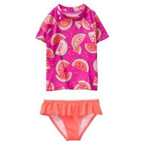 NWT Gymboree Girls Melon Rash Guard Set Swimsuit Kid Girl UPF 50+ watermelon