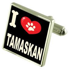 I Love My Dog Silver-Tone Cufflinks Tamaskan
