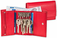 Rimbaldi® Leder Schlüsseltasche & Geldbörse mit 6 Schlüsselhaken in Rot