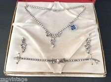 NOS BRJ Smart Set 5th Avenue Jewelry Set (Bracelet, Earrings, Necklace) Rhodium