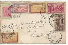 French Cameroun 1938 Ebolova to New York - Nice Cancels - with 6 Stamps