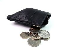 MENS LADIES QUALITY GENUINE BLACK LEATHER COIN CHANGE POUCH PURSE CHANGE WALLET