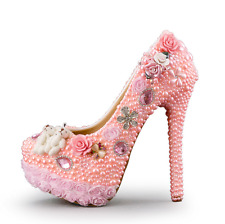 Wedding Pink Women Rhinestone Beads High Stiletto Heel 14cm Shoes Sweet New Pump