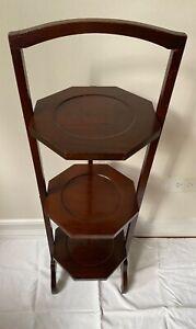 Vintage Mahogany 3 Tier Pie Plant Tea Stand Display Folding Table
