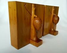 Maurice Bookends Hand Carved Pine Cone Evergreen Tree Wood Carvings
