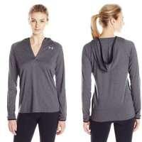 Under Armour Women's Tech Long Sleeve Hoodie, Carbon Heather/Metallic Silver, X-
