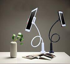 Smartphone tablet holder, long flexible goose-neck, table/desk clip (white)