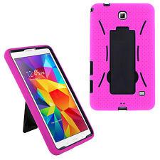 Black/Pink Heavy Duty Silicone Plastic Hybrid Case for Samsung GALAXY Tab 4 7