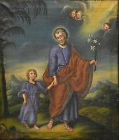 Antique Religious oil canvas painting jesus child joseph angels putti