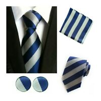 Tie Pocket Square Cufflinks Blue Grey Stripe Set Individual 100% Silk Wedding