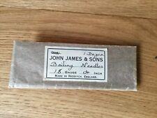 OLD PACKET OF JOHN JAMES REDDITCH FISHING BAITING NEEDLES.