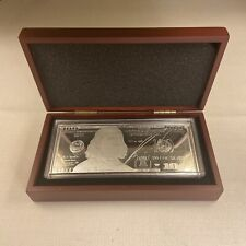 2012 1oz Silver Proof Bar Ben Franklin $100 BILL plastic case, wood box & COA