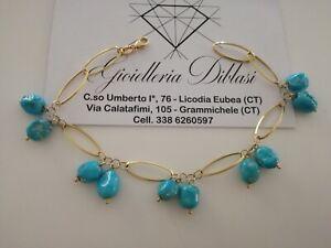 BRACCIALE Oro Donna 18 Karati 750%Turchese Naturale e ORO GIALLO Made in italy