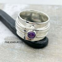 Amethyst Ring 925 Sterling Silver Spinner Ring Meditation Statement Jewelry NS33