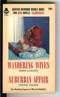 WANDERING WIVES & SUBURBAN AFFAIR, rare US Midwood sleaze gga pulp vintage pb