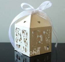 50pcs Laser Cut Lovers Candy Gift Boxes w/Ribbon Wedding Favors Baby shower Box