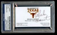 Shaka Smart signed autograph auto Business Card Texas Basketball Coach PSA Slab