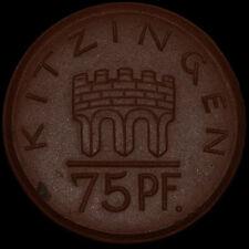 NOTGELD: 75 Pfennig 1921. Porzellan, Meissen. STADT KITZINGEN / BAYERN.