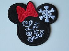 Disney Let It Snow Minnie Mouse Embroidered Applique Iron On/Sew On Patch