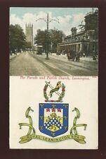 Warwicks Warwickshire LEAMINGTON Parade and Church Heraldic PPC 1907