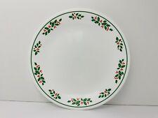 "Corelle Christmas Winter Holly Dinner Plate 10.25"" White Stem Excellent USA"