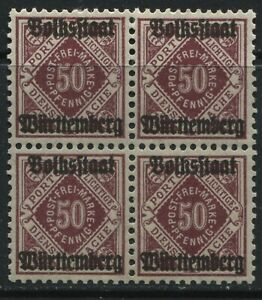 Wurttemberg 1919 50 pf overprinted Official block of 4 mint o.g.