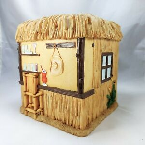 Tiki Hut Bar Tissue Box Cover Holder Yellow Faux Bamboo Thatched Roof Cocktails