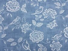 iLiv Bird Garden Denim Curtain Craft Upholstery Designer Fabric
