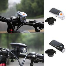 Black Bike Bicycle LED Solar USB2.0 Rechargeable Front Head Light Headlight Lamp