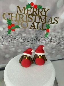 2 EDIBLE CHRISTMAS ROBINS CAKE TOPPER CAKE DECORATION. CAKE. CHRISTMAS GIFT