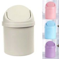 Waste Bin Desktop Garbage Basket Table Roll Swing Lid Mini Trash Can Office Desk