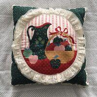 Vintage Country Cottage Pillow Shabby Chic Still Life Scene Primitive Lace Trim