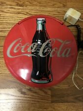 """Vintage  1995 Coca Cola Coke 12"""" Lighted Round Red Button Sign Telephone Phone"""