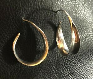 """VTG Sterling Silver Earrings Hoops Threader Wide Artisan 1.4"""" 4.8g 925 #2016"""