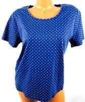 White stag blue white polka dots scoop neck short sleeve women's plus top XXL