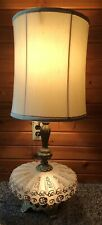 """New listing Vintage Ruffled Base Table Lamp W/Shade 33"""" Gold Pattern Mcm 1970 EF Industries"""