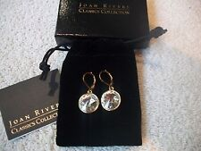 JOAN RIVERS Sparkling EARRINGS Goldtone Faceted Clear Resin Lever back Free Ship