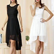 Chiffon Patternless Round Neck Sleeveless Dresses for Women