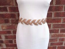 *white Ribbon* Rose Gold Leaf Bridal Dress Belt Sash Beaded Grecian Wedding 3731