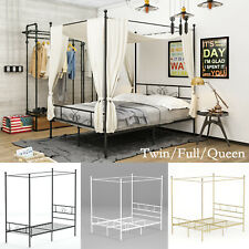 Metal Canopy Bed Frame Twin Full Queen Bedroom Mattress Foundation w/ Headboards