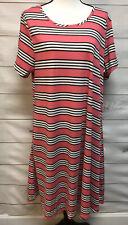 NWT LuLaRoe Jessie Womens Dress Plus Size 2XL Pink Black White Stripes Pockets