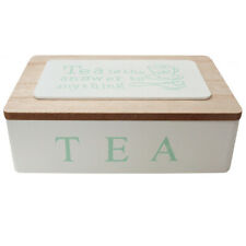 French Country Tea Bag Box TEA IS THE ANSWER White Wood Teabag Holder New