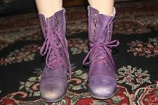 STEVE MADDEN TROOPA PURPLE LEATHER ANKLE BOOT SIZE 7