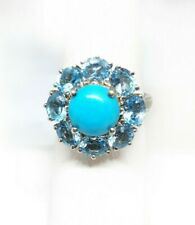 AZ Sleeping Beauty TURQUOISE, Blue TOPAZ, DIAMOND RING in Plat / Sterling Silver