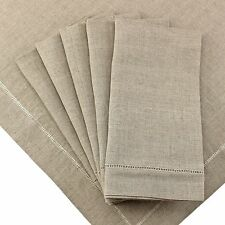 "12 Pack - 100% Pure Linen 20"" Dinner Napkins - Hemstitched Natural Color"