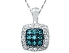 Azul Y Blanco Diamante Colgante 1/10 quilates (quilates) en plata esterlina con cadena