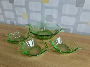 Art Deco Green Glass large Serving Bowl And Six Dessert Dishes Winged Handles