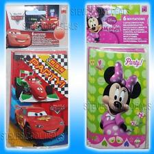 KIDS PARTY Invitations Fun Birthday Invites Minnie Mouse Disney Cars & Envelopes