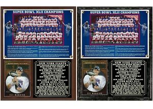 2007 New York Football Giants Super Bowl XLII Champions Photo Card Plaque