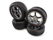 Traxxas Bandit VXL Alias Tires and Black Chrome Tracer Wheels XL-5 Front & Rear